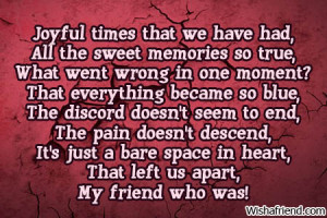 Back > Quotes For > Broken Friendship Poems