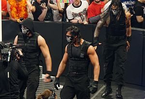 The Shield wore half-masks during an entrance in April 2014.