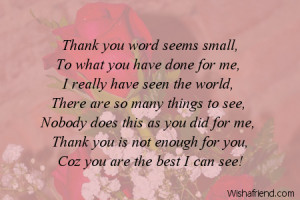 thanks is the word thank you word seems small to what you have done ...