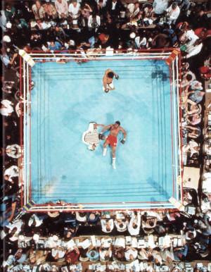 Neil Leifer ~ Muhammad Ali defeats George Foreman in Kinshasa, Zaire ...