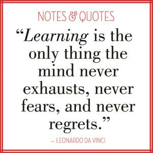 Learning quote by Leonardo DaVinci; image by EuropeanPaper.com/Blog