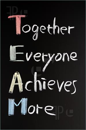 of TEAM acronym (Together Everyone Achieves More), teamwork motivation ...