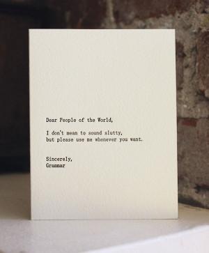 Poor Grammar :(