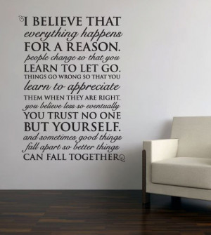 quotes i believe everything happens for a reasonWall Vinyl Quote ...