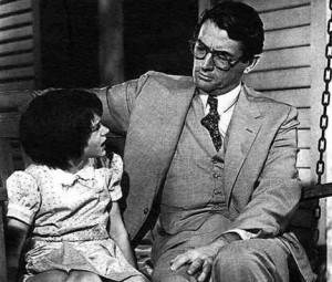 Atticus and Scout Finch from To Kill A Mockingbird