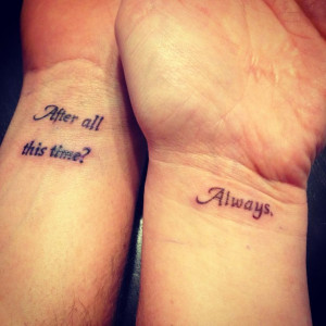 Speaking of Harry Potter inspired couple tattoos, this one captures my ...