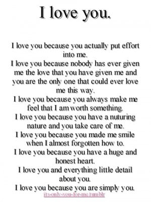 Love You Because You Actually Put Effort Into Me ~ Love Quote