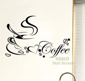 coffe-cup-Art-Home-vinyl-Wall-Sticker-Quote-Removable-Wall-decor-home ...