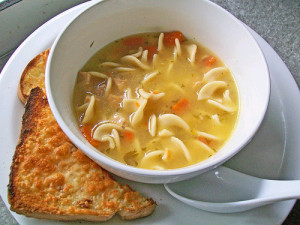 Chicken noodle soup and toast
