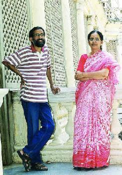 SETTING STAGE: T. Vijay Kumar and C. Vijayasree. - Photo: K. Ramesh ...