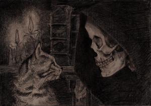 Death with kitten - Discworld by Wichrzyciel