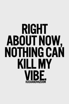 Absolutely nothing can kill my vibe. I'm in a great place in my life ...
