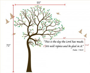 6ft Tree Brown & Green with Bird Wall Decal + Bible Verse Lettering ...
