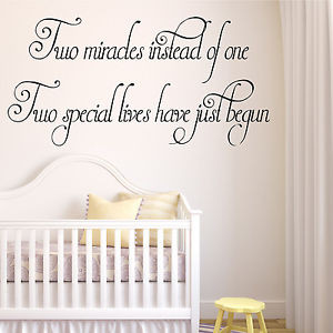 TWINS-Baby-Room-Wall-Art-Quote-Miracles-Nursery-Boy-Girl-Transfer-Gift ...