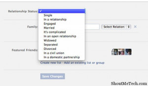 ... status update. For example, change your relationship status to engaged