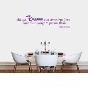 Disney Dreams Quote Kids Bedroom Vinyl Wall Art Decal Sticker 24 ...