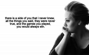 adele, heartbreak, love quotes, quotes, songs, teenage, adele quotes