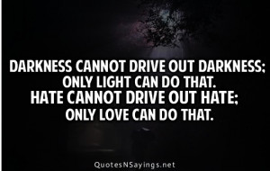Darkness cannot drive out darkness Love quote pictures