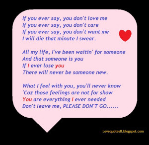 If You Ever Say, You Don't Love Me, If You Ever Say, You Don't ...