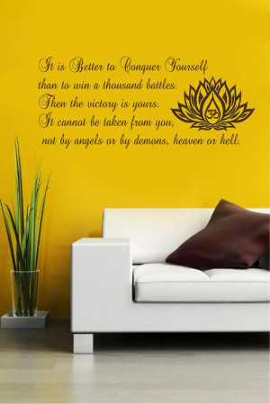 Vinyl Decals To Conquer Yourself Buddha Quote Home by BestDecals, $26 ...