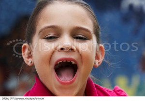 Portrait Girl With Her Mouth Open Stock Photos