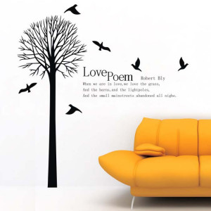 beautiful tree bird quote wall sticker home decals removable pvc wall ...