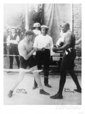 Boxers Marty Cutler and Jack Johnson Photograph Reproduction d'art