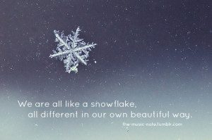 We are like a snowflake...