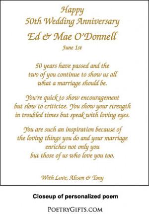 50th Wedding Anniversary Poem and Frame