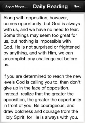 What I read tonight in my Joyce Meyer's daily devotional . I can do ...