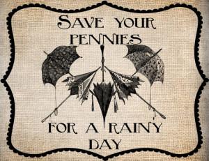 Antique Umbrellas Save Pennies Rainy Quote Saying Illustration Digital ...