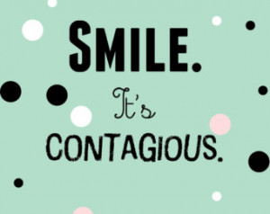 Print Smile it's contagious A4 8x10 PRINT ONLY mint green fun ...