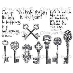 Chapel Road Artstamps Cling Mounted Rubber Stamps Set Keys & Quotes