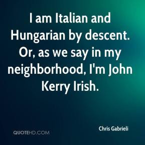 Chris Gabrieli - I am Italian and Hungarian by descent. Or, as we say ...