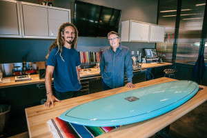 Rob Machado and master putter maker Scotty Cameron at The Scotty