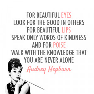 Audrey Hepburn Quote (About alone, beautiful, eyes, knowledge, lips ...