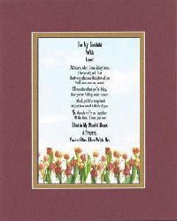 ... My Godchild With Love Poem on 11 x 14 inches Double Beveled Matting