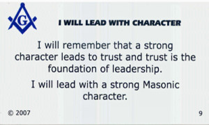 Several years ago I developed a set of Leading with Masonic Values ...