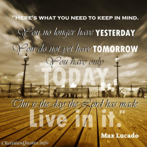 Max Lucado Quote - Live Today - people sitting on a bench