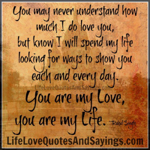 You may never understand how much I do love you, but know I will spend ...