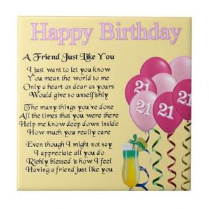 home images 21st birthday friend poem tile 21st birthday friend poem ...