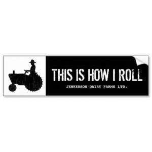Funny Personalized Farm Tractor Farmer Sign Bumper Sticker