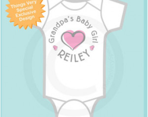 Girl's Personalized Grandpa's Baby Girl with Pink Heart Onesie or Tee ...