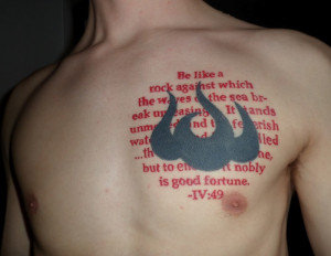 Exaggerated Quote Tattoo for Men Chest