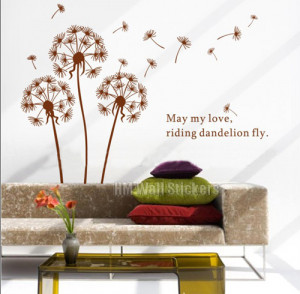 LARGE DANDELIONS with quote wall sticker give a elegant touch to ...