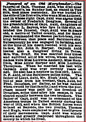 Obituary for Thomas Auld in the Baltimore Sun, Feb. 12, 1880
