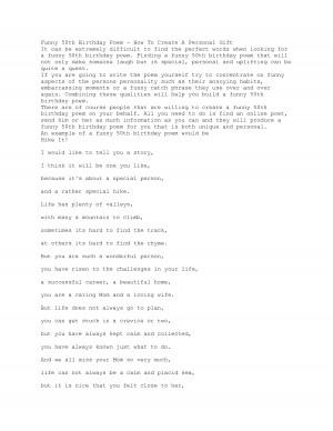 docstoc.comFunny 50th Birthday Poem - How