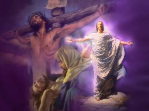 wallpaper image of the crucifixion and resurrection of Jesus
