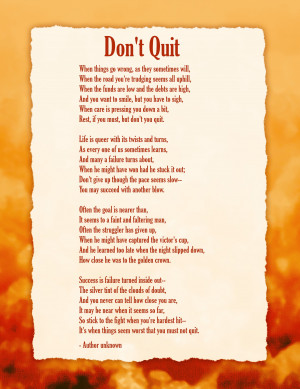 Inspirational quotes and poems - quote - poem -Don't Quit