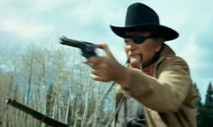 Best depiction of Rooster Cogburn firing two guns with a strap in his ...